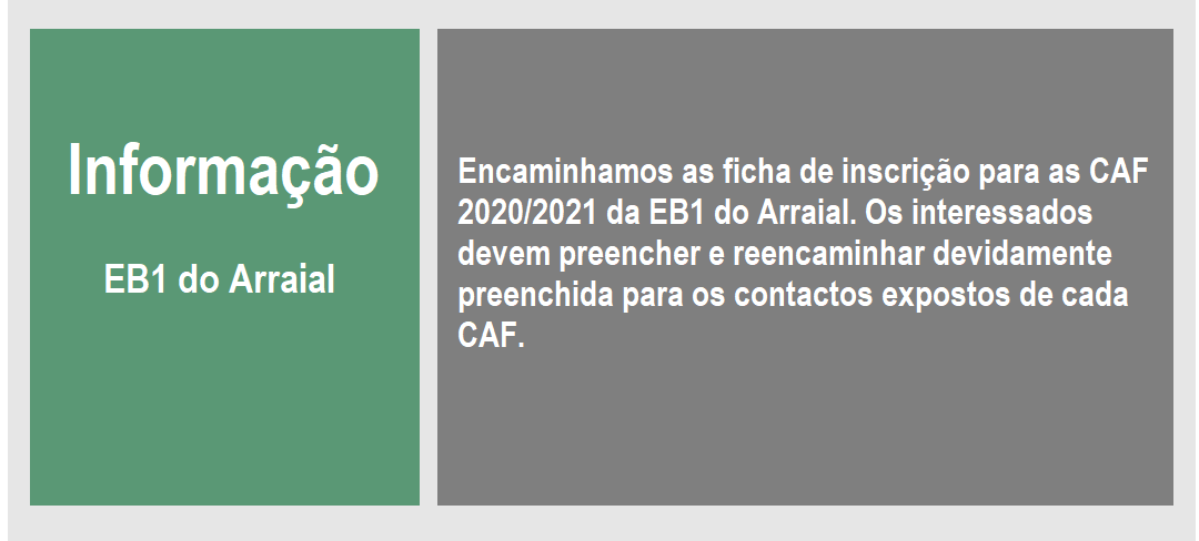 Download inscrição - CAF EB1 do Arraial